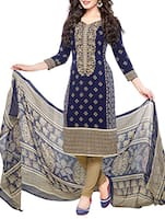 blue crepe unstitched suit -  online shopping for Unstitched Suits