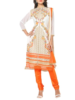 white orange color, embroidered long kurta dress material