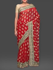 Maroon Paisley Embroidered Georgette Saree - By