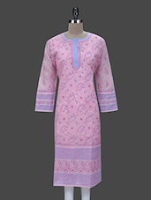 Baby Pink Cotton Chikankari Kurta - By
