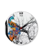 Multicoloured Glass Peacock Clock - By