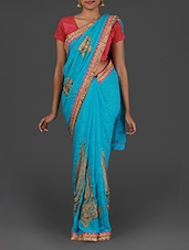 Embroidered Sky Blue Jacquard Silk Saree - Pothys
