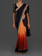 Navy Blue And Orange Ombre Silk Saree - Pothys