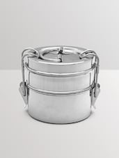 Silver Stainless Steel 2 Tier Tiffin Box - By