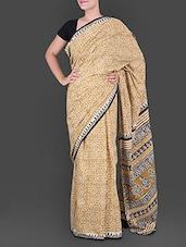 Leaf Printed Pallu Yellow Cotton Saree - Anjani Sarees