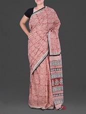 Leaf Pattern Print Block Printed Saree - Anjani Sarees