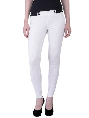 white polyester jeggings