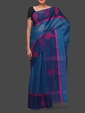 Blue Bengal Handloom Cotton Saree - By