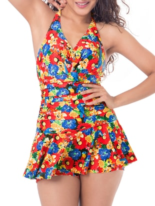 multi colored floral nylon swimsuit