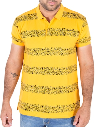 yellow printed cotton polo t-shirt -  online shopping for T-Shirts