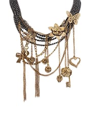 ChicKraft Antique Gold Gun Metal Color Alloy Metal The Blossoming Choker Necklace - By