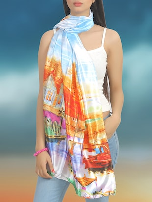 multicolored printed satin scarf -  online shopping for Scarves