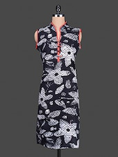 Monochrome Floral Printed Cotton Kurta - By