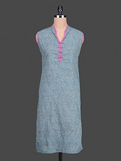 Blue Floral Printed Cotton Kurta - By