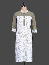 White Floral Printed Cotton Kurta - By