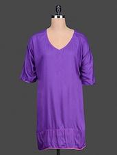 Solid Purple Rayon Kaftan - By