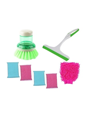 Home Creations Cleaning Combo set of  6pc Scrubber,1 pc Dishwasher ,1 pc Kitchen Wiper and 1pc Gloves