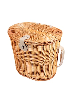 brown wood picnic basket