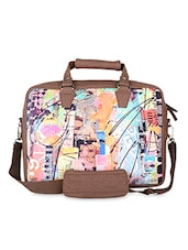 Brown Abstract Faux Leather Laptop Bag - THE BACKBENCHER