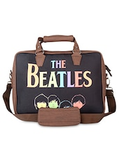 Brown Beatles Faux Leather Laptop Bag - THE BACKBENCHER