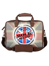 Brown Rock Music Faux Leather Laptop Bag - THE BACKBENCHER