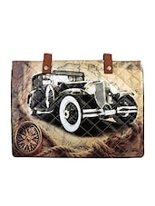 Beige Vintage Car Flex Laptop Sleeve - THE BACKBENCHER