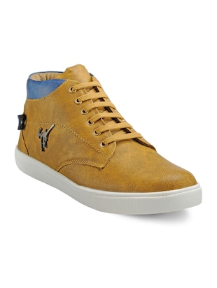 tan Leatherette lace up sneaker