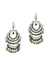 Black Beads Metallic Earrings - By