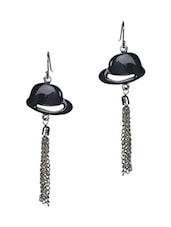 Black Enamelled Metallic Earrings - Trinketbag