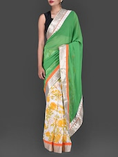Green Floral Printed Georgette Saree - Bollywood Designz