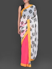 Pink And White Floral Printed Georgette Saree - Bollywood Designz