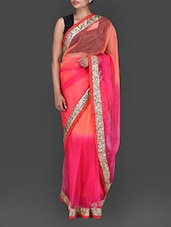 Pink And Orange Shaded Net Saree - By