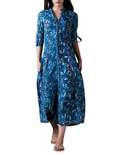 Indigo Floral Print Cotton Maxi Dress - By