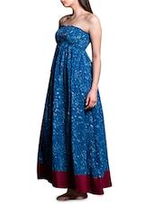 Indigo Printed Strapless Cotton Maxi Dress - By