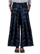 Indigo Printed Cotton Pleated Pants - By