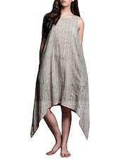Beige Striped Asymmetrical Cotton Dress - By