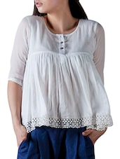 White Crochet Trim Mulmul Top - By