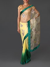 Yellow And Green Embellished Georgette Saree - R D FAB