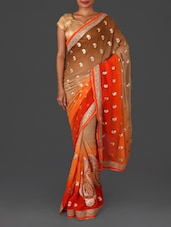 Orange Embroidered Poly Georgette Saree - Four Seasons