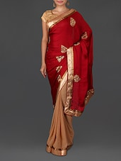 Red Jacquard Embroidered Satin Chiffon Poly Georgette Saree - By