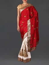 Red Jacquard Embroidered Poly Georgette Saree - By