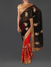 Black Jacquard Embroidered Poly Georgette Saree - By