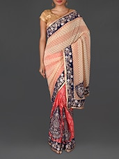 Multicoloured Jacquard Embroidered Poly Georgette Saree - By