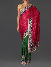 Green Jacquard Embroidered Poly Georgette Saree - By