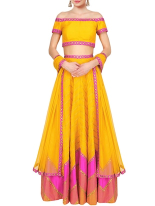 yellow faux silk semistitched lehenga