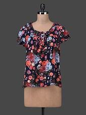Ruffled Sleeves Floral Print Asymmetrical Top - Envy Me NY