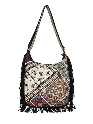 multi printed cotton fringed sling bag