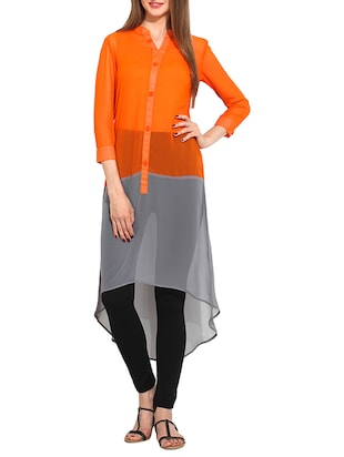 orange  viscose kurta -  online shopping for kurtas