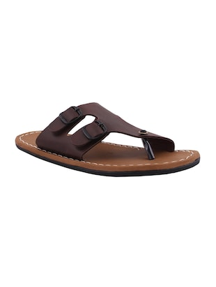 brown color, leatherette sandals