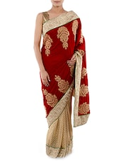 Red And Beige Embroidered Velvet Saree - Indiancultr By Kriti